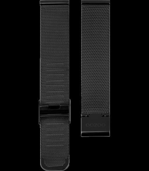 OOZOO horlogeband Milanees-Mesh edelstaal zwart 22mm