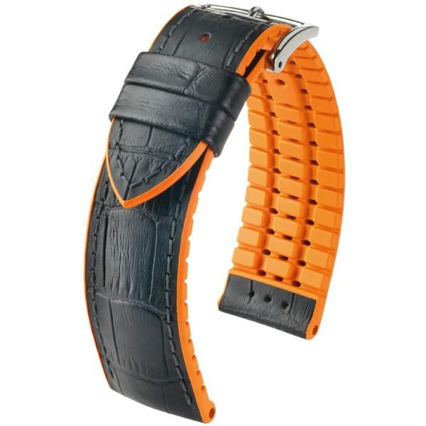 Hirsch horlogeband Andy L 20mm Zwart met oranje accent