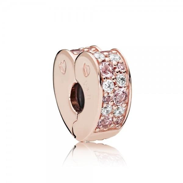 Pandora Rose Arcs of Love Clip Dames 787020NPM Roseverguld Zilver Zirkonia