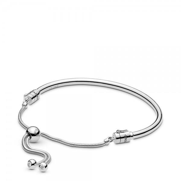 Pandora Moments Silver Sliding Bangle Armband Dames 597953CZ-2 Zilver Zirkonia