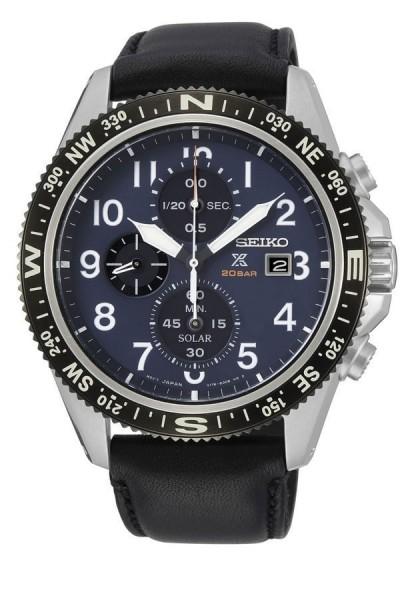 Seiko Prospex Herenhorloge Chronograaf Solar Analoog SSC737P1 Zilverkleurig Zwart Blauw