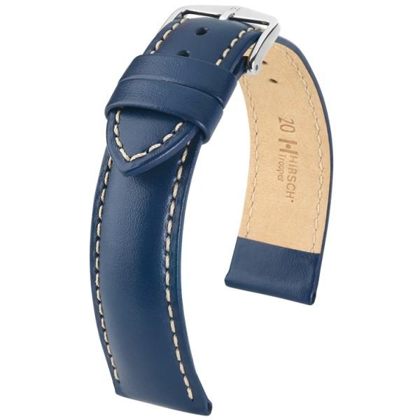 Hirsch horlogeband - TROOPER blauw leer 22mm