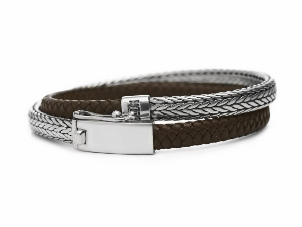 Silk armband 344.21 zilver bruin 21cm