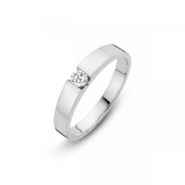 Briljant - Stretto Witgouden Damesring 0,15crt Diamant
