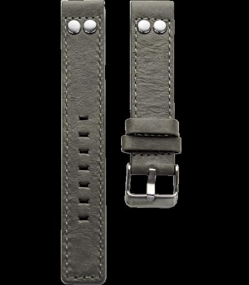 OOZOO horlogeband grijs leer met studs 22mm