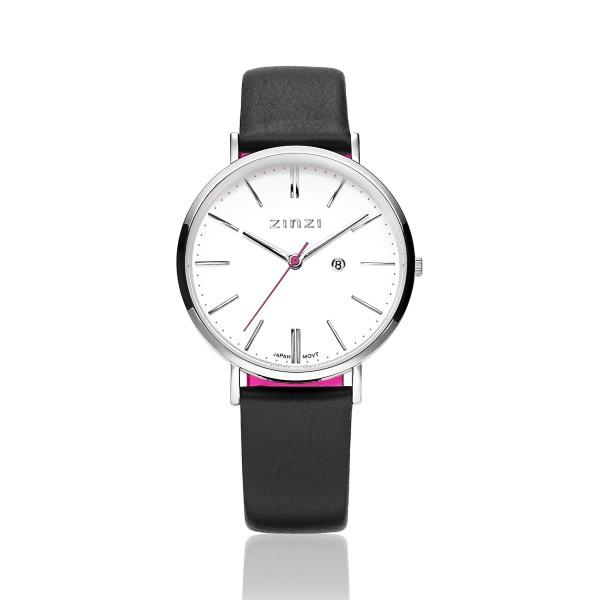 Zinzi Zwart Zilver Horloge 38 mm ZIW406