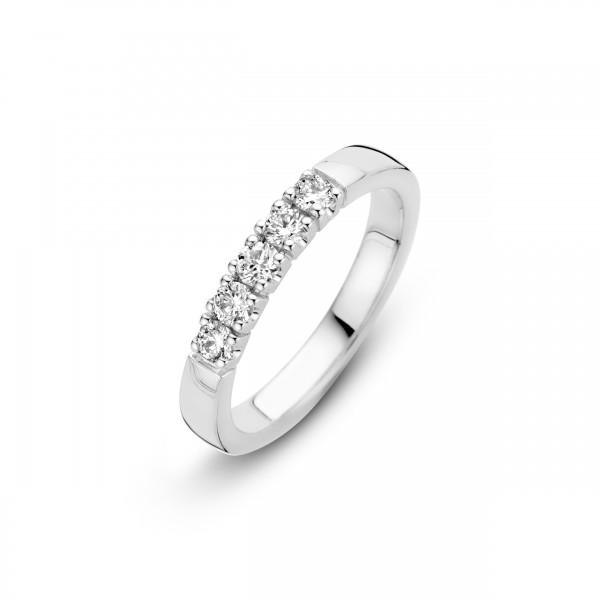 Briljant - Memoire Witgouden Damesring 5x0,03crt Diamant