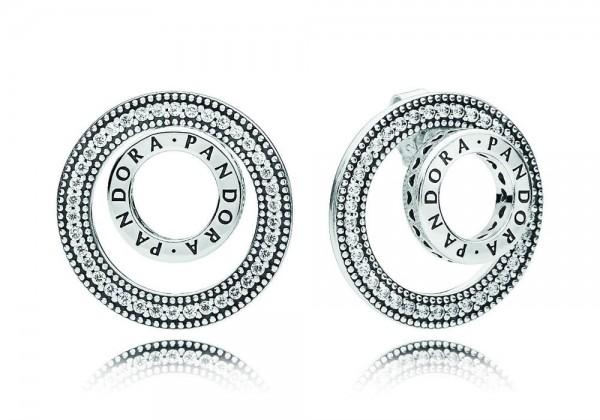Pandora Forever Signature Logo Oorbellen Dames 297446CZ Zilver Zirkonia