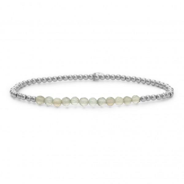 Sparkling Jewels Armband Universe SB-GEM31-3MM-LINE Grey Agate 3 mm Small