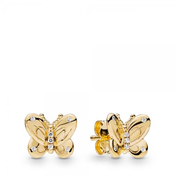 Pandora Stories Shine Butterfly Oorbellen Dames 267921CZ Goudkleurig Zilver Zirkonia
