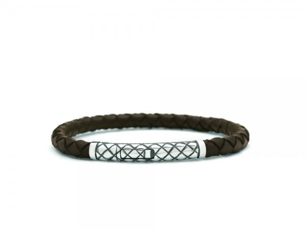 Silk Jewellery Armband 427BRN.21 Zilver Bruin Leder