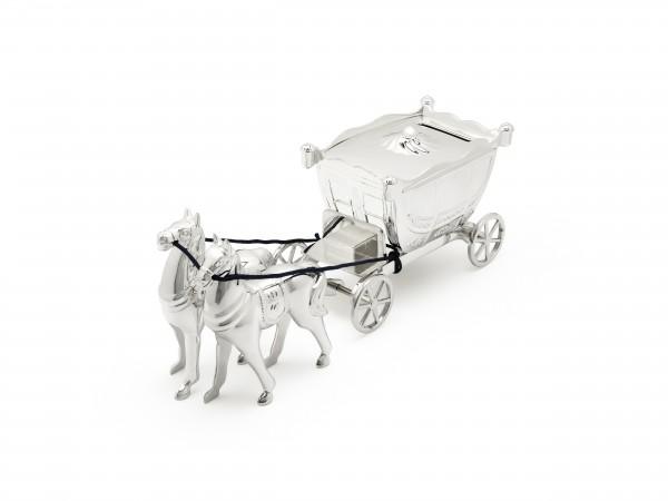 Zilverstad Spaarpot Twee Paarden trekken de Koets - Verzilverd