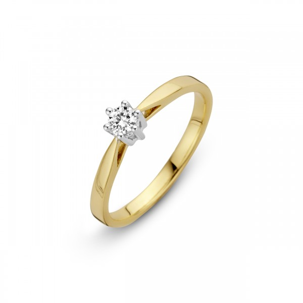 Briljant - Classico Gouden Damesring 0,10crt Diamant