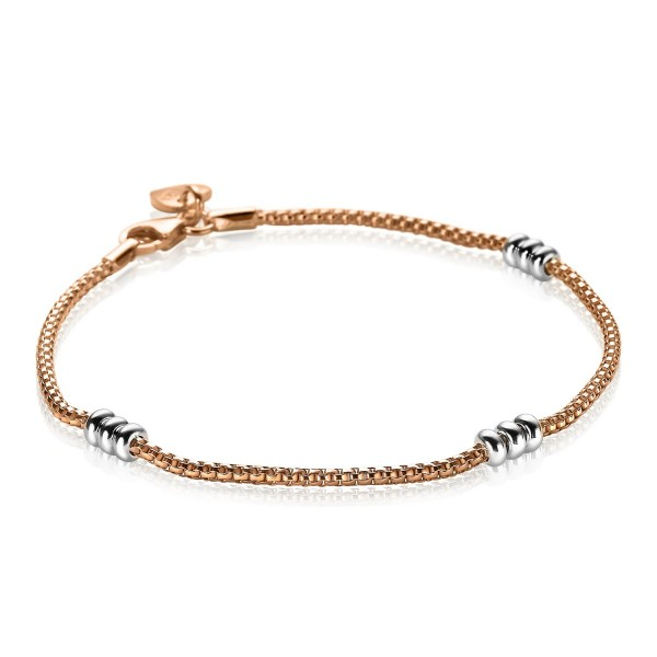 Zinzi Armband Dames Fantasieschakel ZIA1421B Roségoudkleurig Zilver
