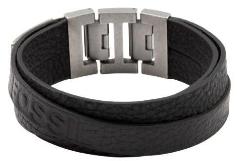 Fossil Mens Vintage Casual Heren Armband JF84818040 Zwart Leer RVS