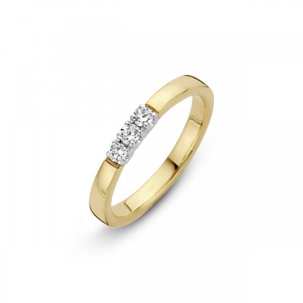 Briljant - Memoire Gouden Damesring 3x0,03crt Diamant