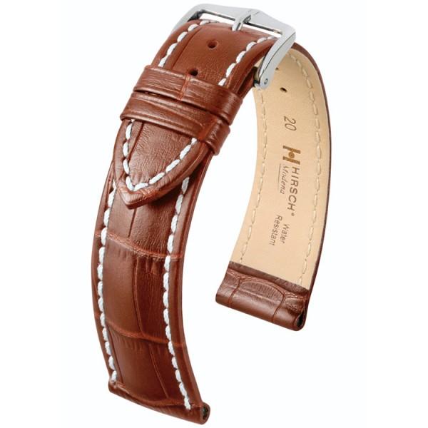 Hirsch Modena Horlogeband L 20mm Goudbruin Leer