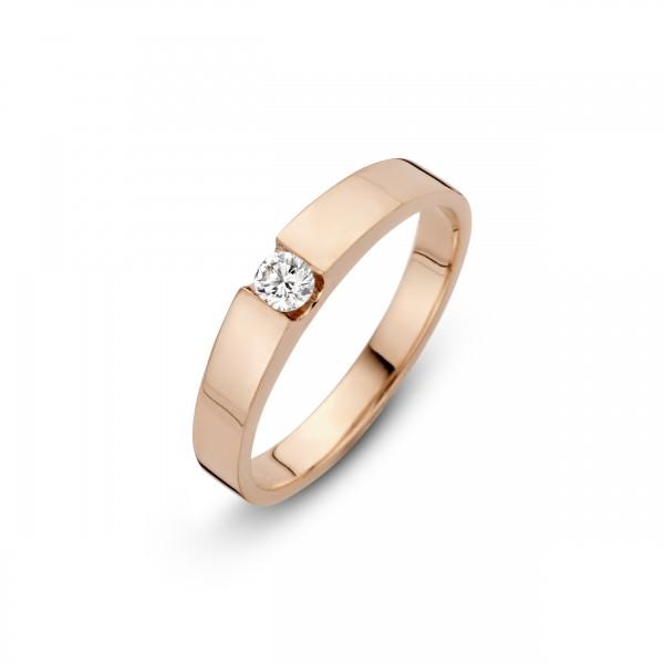 Briljant - Stretto Roségouden Damesring 0,20crt Diamant