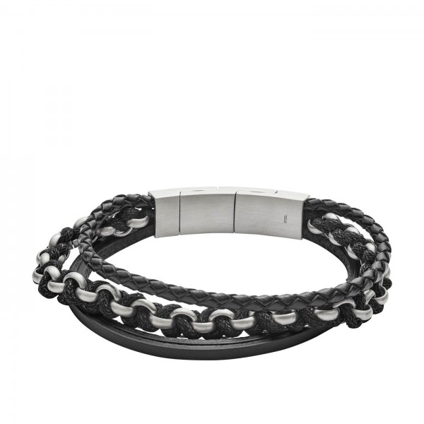 Fossil Vintage Casual Heren Armband JF02937040 Leer RVS