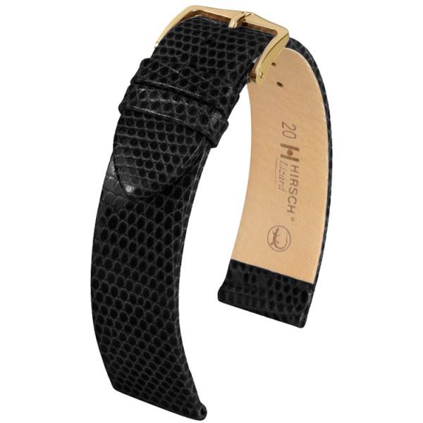 Hirsch horlogeband - Lizard Zwart XL - 18mm