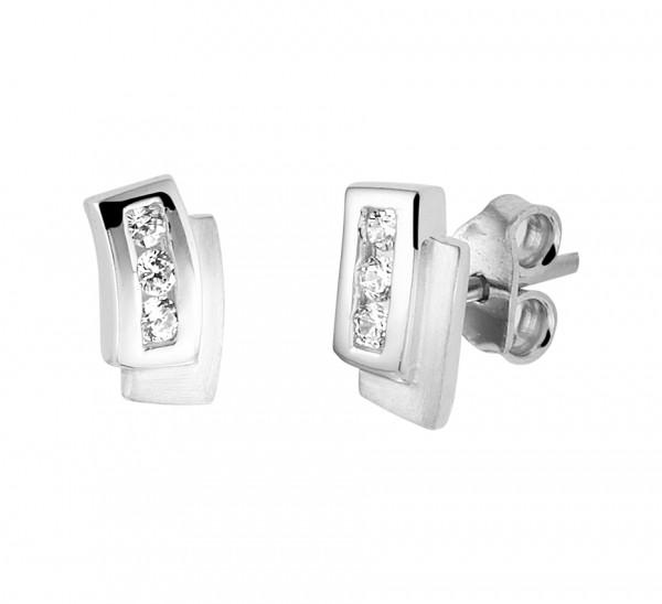 Zilveren Zirkonia Blok Oorbellen - 1329153