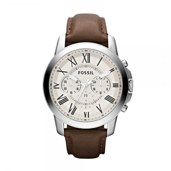 Fossil Grant Herenhorloge Chronograaf FS4735 Zilverkleurig Wit
