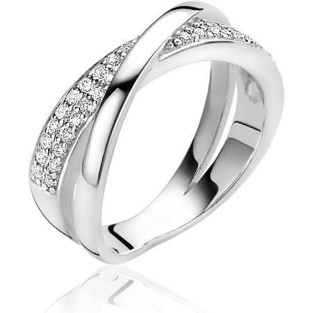 Zinzi Cross-Over Ring Dames ZIR1604 Zilver Zirkonia