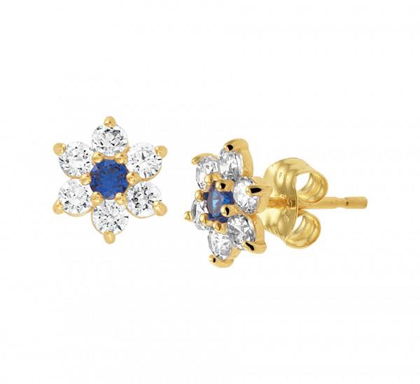 Gouden Oorknoppen Zirkonia Blauw Saffier
