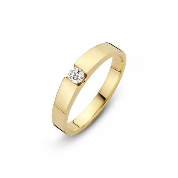 Briljant - Stretto Gouden Damesring 0,06crt Diamant