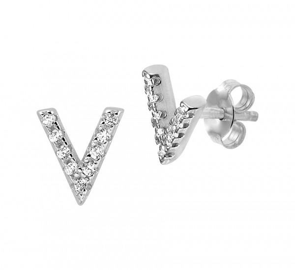 Zilveren V-Oorbellen - 1324800