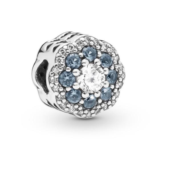 Pandora Moments Blue Sparkle Flower Bedel Dames 797851NMB Zilver Zirkonia Kristal