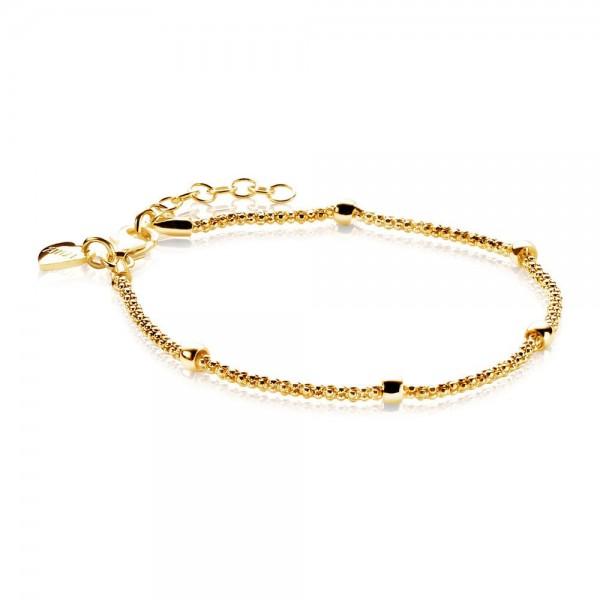 Zinzi Armband Dames Popcornschakel 5 Beads ZIA1128G Goudkleurig Zilver