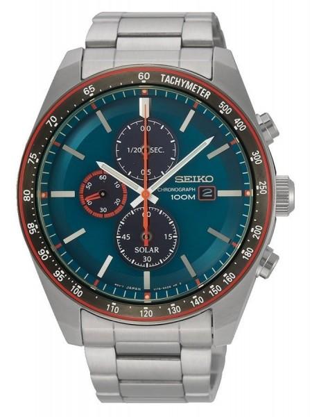 Seiko Solar Chronograaf Tachymeter Herenhorloge SSC717P1 Zilverkleurig Groen