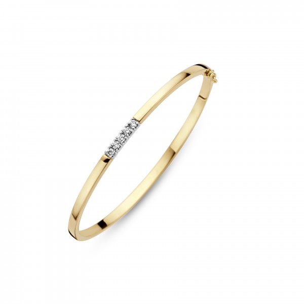 Briljant - Gouden Memoire Slavenarmband 5x0,05crt Diamant