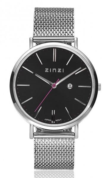 Zinzi Retro Dameshorloge Quartz Analoog ZIW401M Zilverkleurig Zwart + Gratis Armband