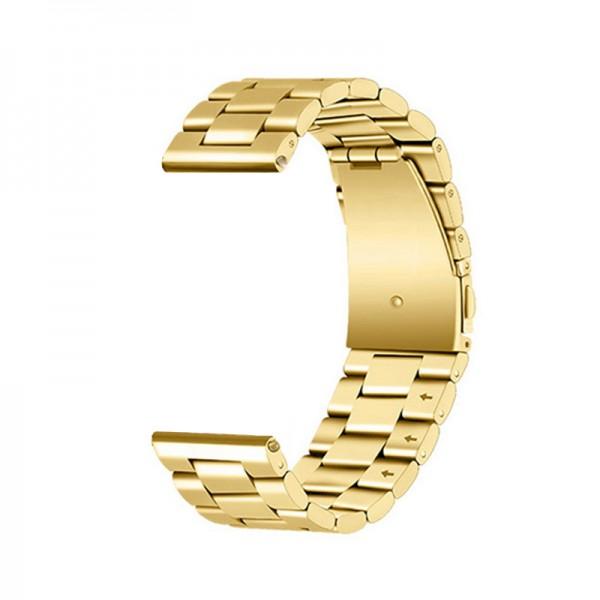 Horlogeband goudkleurig- vouwsluiting met drukknoppen - edelstaal 24mm