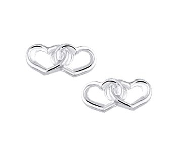 Zilveren Oorknopjes Dubbele Hart
