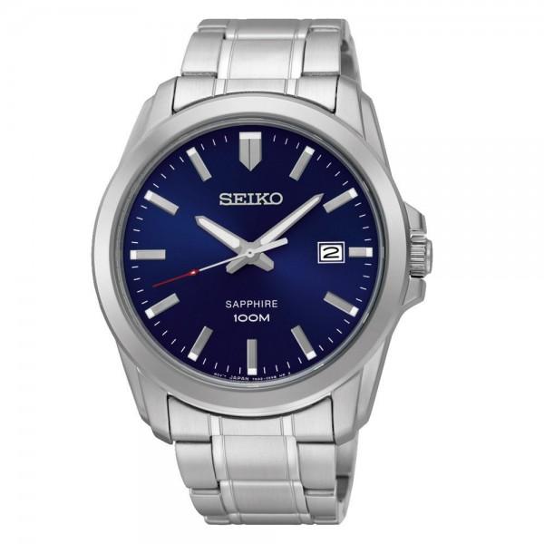 Seiko Sapphire Herenhorloge Quartz Analoog SGEH47P1 Zilverkleurig Blauw