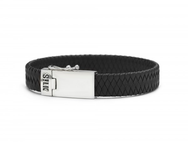 Silk armband 841BLK.21 - zilver zwart 21cm
