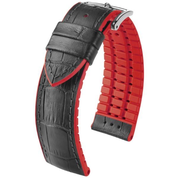 Hirsch horlogeband Andy L 22mm Zwart met rood accent