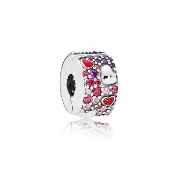 Pandora Hearts of Love Bedel 797838CZRMX Zilver Emaille Zirkonia Kristal