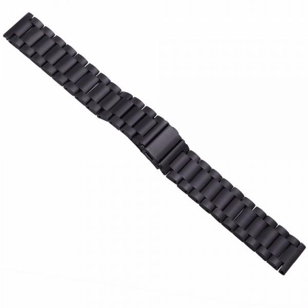 Horlogeband zwart - vouwsluiting met drukknoppen - edelstaal 24mm