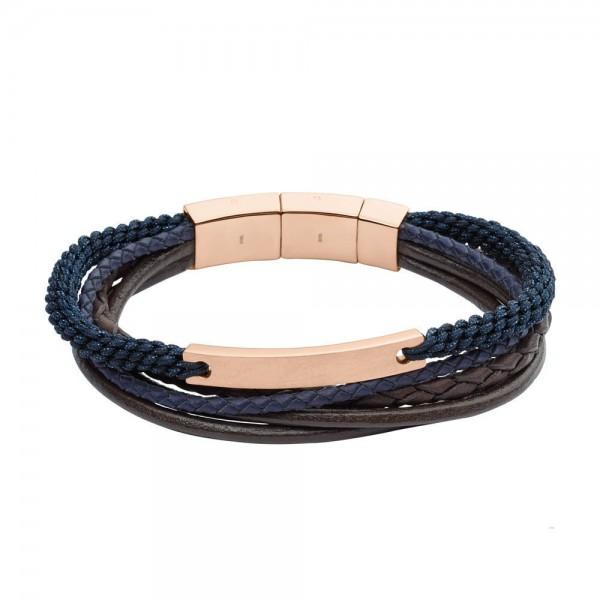 Fossil Mens Vintage Casual Heren Armband JF02379791 Rosé Blauw Zwart Leer RVS