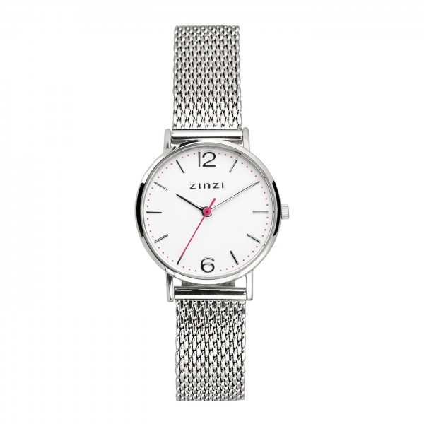 Zinzi Zilver Wit Horloge 28 mm ZIW606M