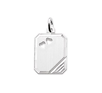 Graveerhanger rechthoek16x12mm 2 hartjes zilver