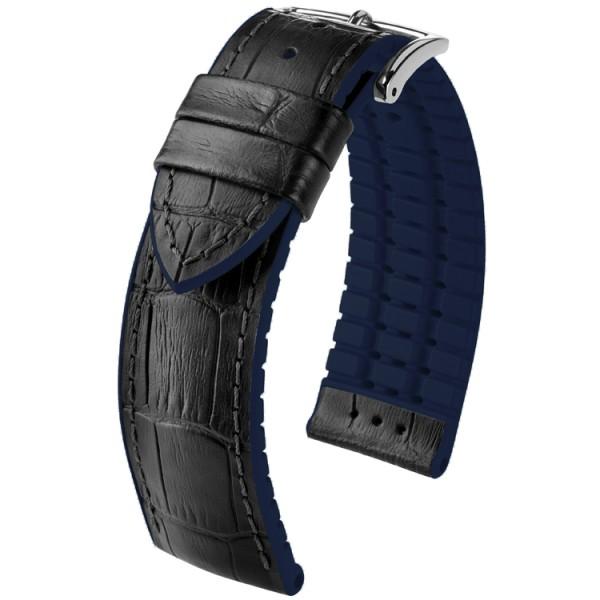 Hirsch horlogeband Andy L 22mm Zwart met blauw accent