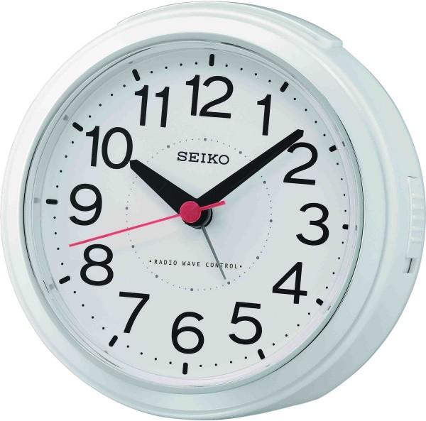 Seiko wekker QHR026W kunststof wit - Radio Controlled
