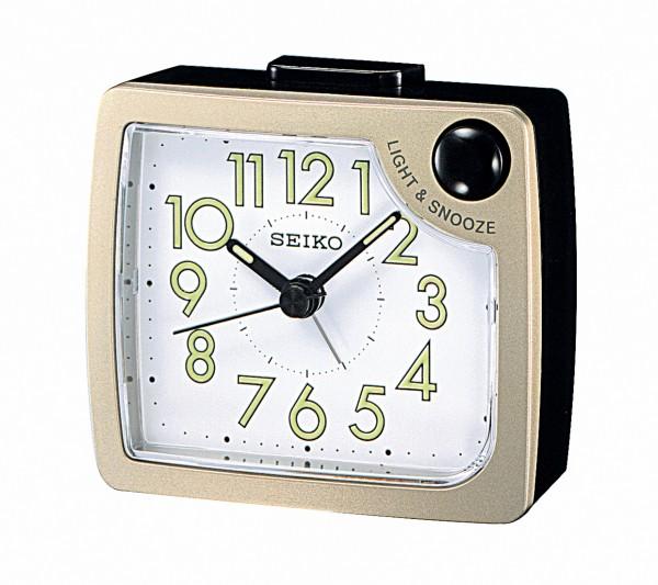 Seiko wekker QHE120G - zwart/bronskleurig kunststof kast