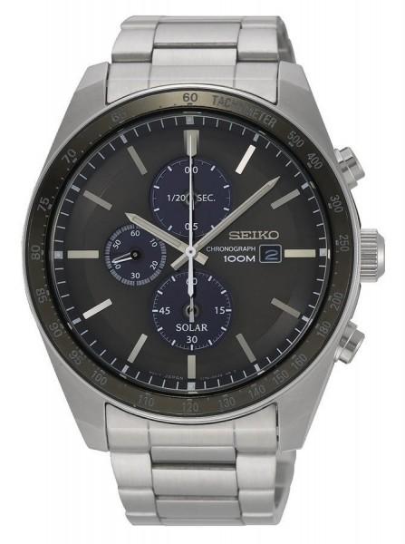 Seiko Solar Chronograaf Tachymeter Herenhorloge Quartz Analoog SSC715P1 Zilverkleurig Zwart