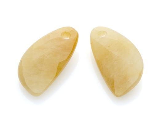 Sparkling Jewels Oorsieraad Gemstone EAGEM30-AS Yellow Jade Facet Drop